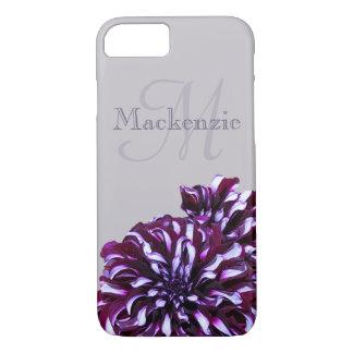 Coque iPhone 7 Le dahlia pourpre élégant fleurit le nom de