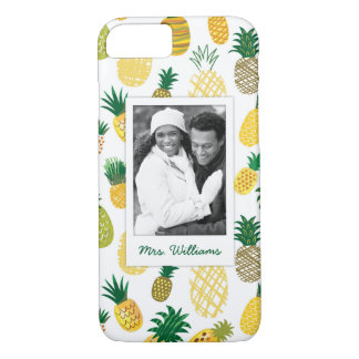 Coque iPhone 7 Le motif à la mode | d'ananas ajoutent votre photo
