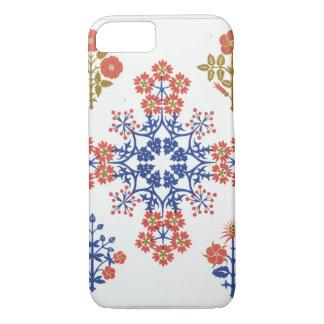 Coque iPhone 7 Le papier peint de motif de Violiet, d'iris et de