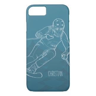 Coque iPhone 7 Le skieur personnalisé a esquissé le dessin sur le