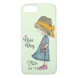 Coque iPhone 7 Les blues-jean habillent la fille rose de