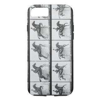 Coque iPhone 7 L'homme et le cheval sautant une barrière,