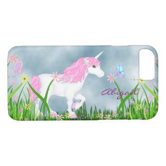 Coque iPhone 7 Licorne rose et blanche personnalisée avec des