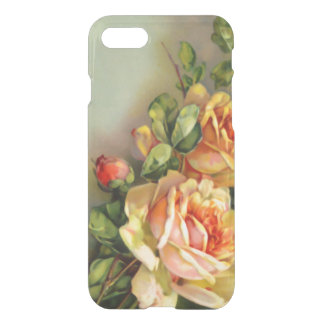 Coque iPhone 7 L'or vintage et rougissent des roses