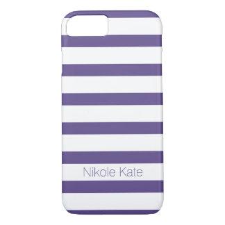 Coque iPhone 7 L'ultraviolet élégant barre le monogramme