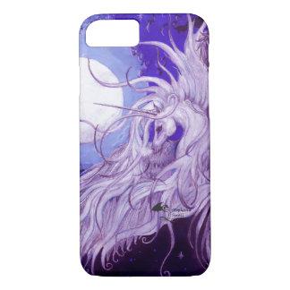 Coque iPhone 7 Lune de Pegasus à ailes par licorne noire d'ange