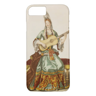 Coque iPhone 7 Madame de qualité jouant la guitare, plat de mode,