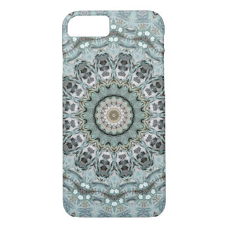 Coque iPhone 7 Mandala élégant de gris et d'Aqua