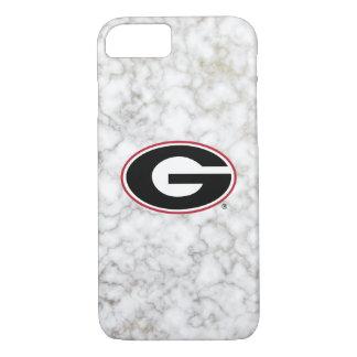 Coque iPhone 7 Marbre du logo   de bouledogues de la Géorgie