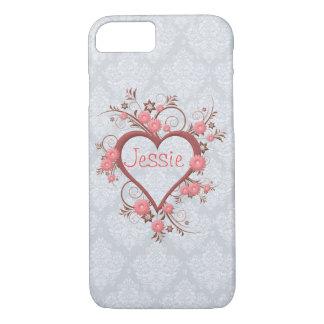 Coque iPhone 7 Marguerite rose féminine élégante et coeur à jour