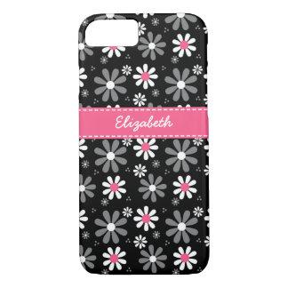 Coque iPhone 7 Marguerites Girly roses et noires mignonnes de mod