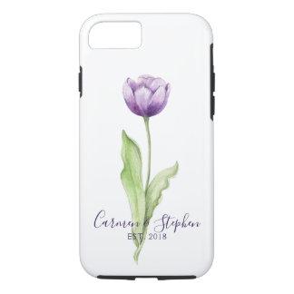 Coque iPhone 7 Mariage simple mauve-foncé minimaliste de tulipe