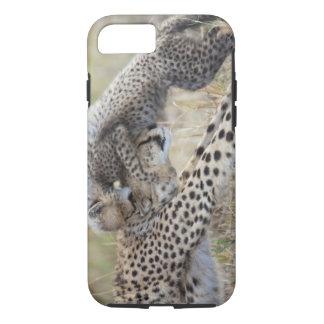 Coque iPhone 7 Mère de guépard (jubatus d'Acinonyx) jouant avec
