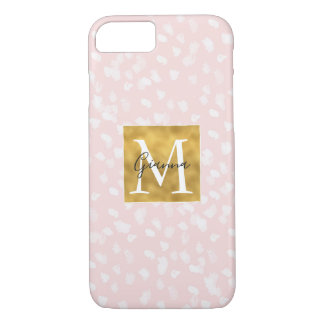 Coque iPhone 7 Monogramme blanc chic d'or de taches roses
