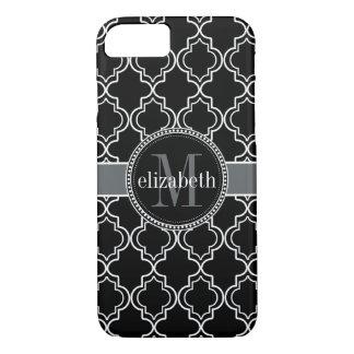 Coque iPhone 7 Monogramme blanc noir de Quatrefoil de Marocain