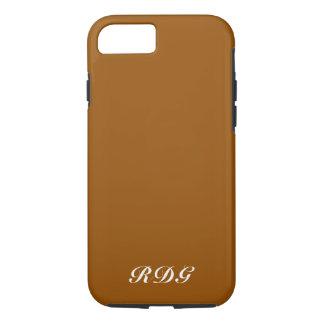 Coque iPhone 7 Monogramme blanc professionnel moderne brun