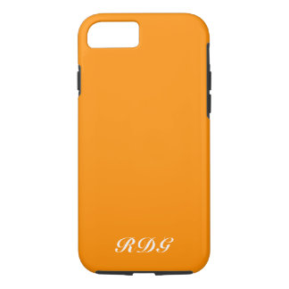 Coque iPhone 7 Monogramme blanc professionnel moderne orange