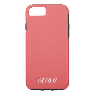 Coque iPhone 7 Monogramme blanc professionnel moderne rose de