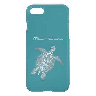 Coque iPhone 7 Monogramme bling clair de tortue de mer