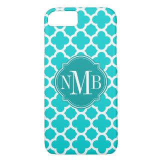 Coque iPhone 7 Monogramme de motif de turquoise de Quatrefoil