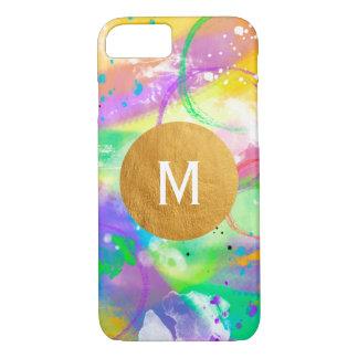 Coque iPhone 7 Monogramme d'or de peinture d'aquarelle de
