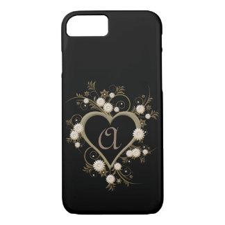 Coque iPhone 7 Monogramme dramatique féminin élégant de coeur