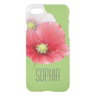 Coque iPhone 7 Monogramme floral moderne de jolis pavots
