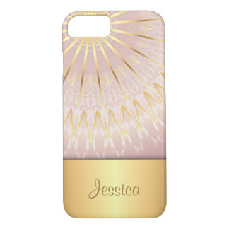 Coque iPhone 7 Monogramme géométrique de Bling d'or rose