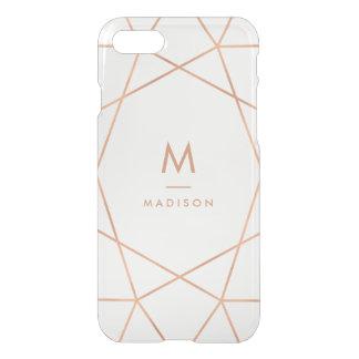 Coque iPhone 7 Monogramme géométrique de l'or rose moderne | de