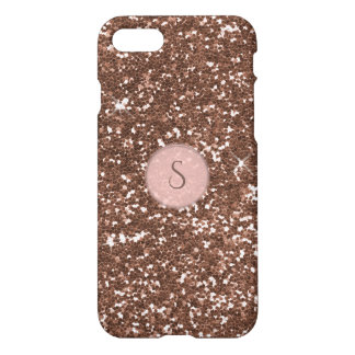 Coque iPhone 7 Monogramme rose rond de scintillement rose d'or de