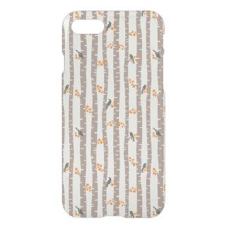 Coque iPhone 7 Motif avec des arbres et des oiseaux d'automne
