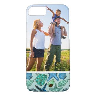 Coque iPhone 7 Motif bleu de coquillages et d'étoiles de mer de
