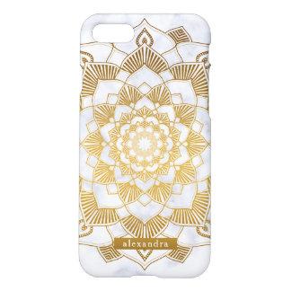 Coque iPhone 7 Motif chic de mandala de marbre et d'or