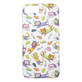 Coque iPhone 7 Motif de chats de plongée à l'air d'aquarelle