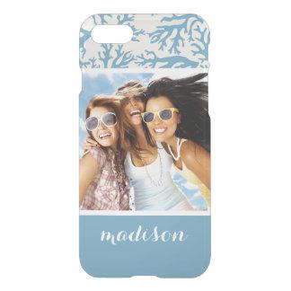 Coque iPhone 7 Motif de corail bleu   votre photo et nom