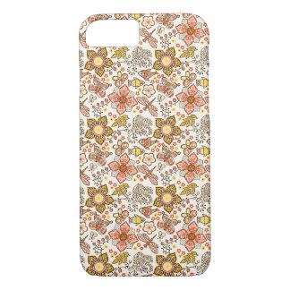 Coque iPhone 7 Motif de jaune orange de fleur de libellule de