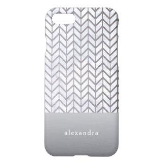 Coque iPhone 7 Motif élégant de Chevron de marbre et d'argent