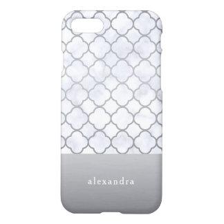 Coque iPhone 7 Motif élégant de Quatrefoil de marbre et d'argent