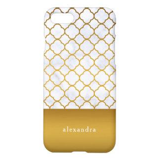 Coque iPhone 7 Motif élégant de Quatrefoil de marbre et d'or