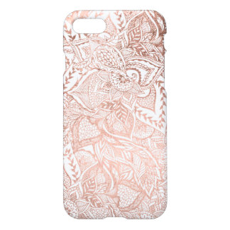 Coque iPhone 7 Motif floral de mandala d'or rose tiré par la main