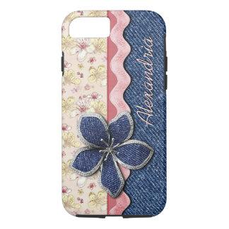 Coque iPhone 7 Motif floral en pastel mignon de hanche de jeans