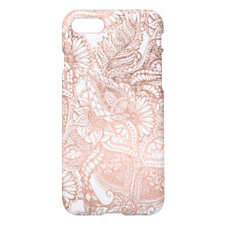 Coque iPhone 7 Motif floral tiré par la main de feuille d'or rose
