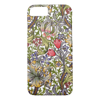 Coque iPhone 7 Motif floral vintage William Morris de lis d'or