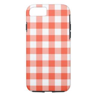 Coque iPhone 7 Motif orange et blanc de contrôle de guingan