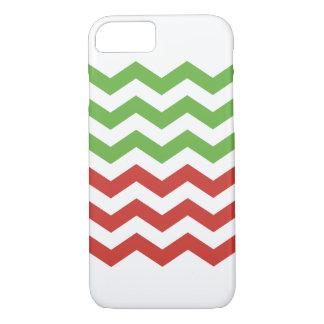 Coque iPhone 7 Motif rouge et vert de Noël de rayure de Chevron