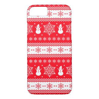 Coque iPhone 7 Noël rouge et blanc