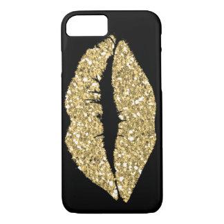 Coque iPhone 7 Noir avec des lèvres de charme d'or