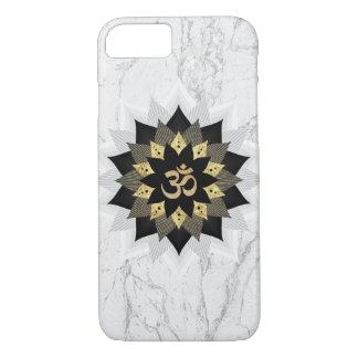 Coque iPhone 7 Noir de symbole de l'OM de yoga et marbre de