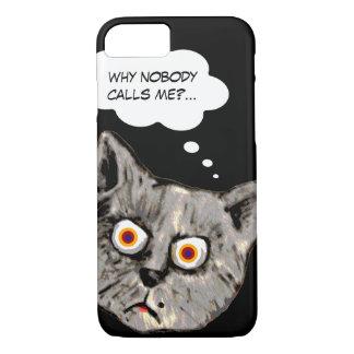 Coque iPhone 7 noir drôle de bande dessinée de chat