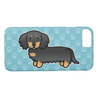 Coque iPhone 7 Noir et long chien bronzage de bande dessinée de